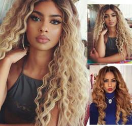 Человеческие волосы длинная полная блондинка онлайн-Полные парики шнурка человеческих волос 10- 20 дюймов Длинный бразильский вода волна Remy 613 Honey Blonde Ombre Цвет Glueless полные парики шнурка с волосами младенца
