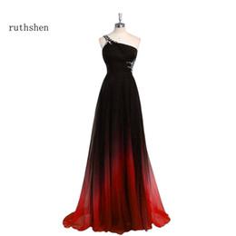 abendkleid steigungen Rabatt ruthshen Abendkleider lang ein Schulter-Gradient Schwarz Rot Perlen Chiffon Abendkleid Günstige Im Lager Real Photo Vestido Longo