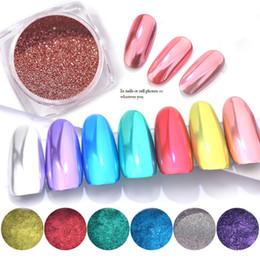 Escamas de uñas online-Nail Art Espejo Brillo Escamas Lentejuelas Esmalte Decoraciones Cromo Nail Powder Pigmento Manicura Holográfica inmersión en polvo Uñas