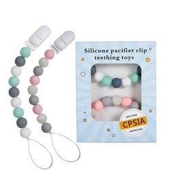 dummies de dentição Desconto Clipes Silicone chupeta dentição Beads BPA livre Silicone manequim clipe chupeta titular do bebê mordedor Pendant Soothie clipes A8342