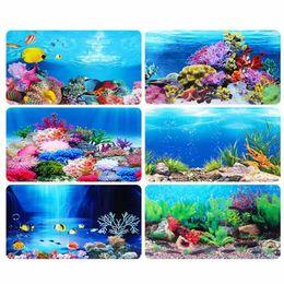Cartaz dos peixes on-line-Background Ezlife 1 Pc oceano paisagem Poster Fish Tank Background Fish Bowl Pintura 3d Aquário Decorar