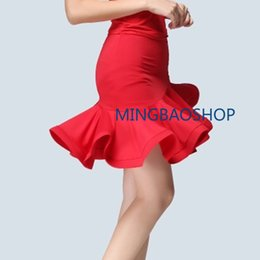 Pannello esterno swing vestito rosso online-2019 Womens Latin Dance Skirt Ballroom Tango Swing Rumba Chacha Costume da ballo Dress Sexy Feamle Red Latin Dancing Skirt