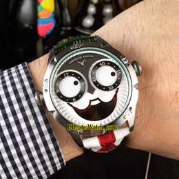 nuevo reloj ruso Rebajas Nuevo Konstantin Chaykin Joker Caja de acero con cara sonriente única Verde interior ruso Tiempo de cuarzo suizo Reloj para hombre Correa de cuero negro Corbata roja