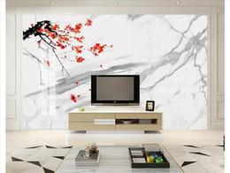 Blanc de neige chinois en Ligne-Personnalisé 3D Soie photo papier peint murale New Chinese Plum Blossoms Encre Neige Blanc Marbre Salon TV Fond Papier peint pour murs 3d
