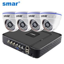 Sistema dvr della telecamera dome online-Kit DVR sistema di sorveglianza CCTV 4CH DVR ibrido Sistema di videosorveglianza 720P 1080P AHD Kit telecamera Day Night AHD Dome Camera