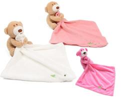 Couvertures peluches en Ligne-4 styles mignon top qualité ours bébé apaiser serviette douillette peluche peluche lavable couverture doux bébé bavoirs serviette jouet