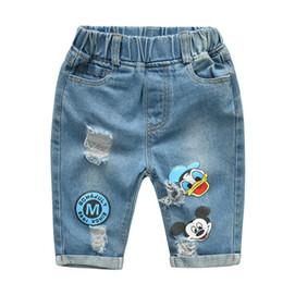 Yaz Çocuklar Karikatür Pantolon Pantolon Moda Kızlar Jeans Erkek Çocuklar Delik Jeans Çocuk Moda Kot Pantolon Bebek Bebek Giyim nereden bol kot pantolon tedarikçiler