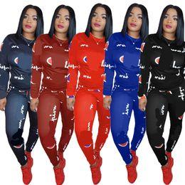 progetta i vestiti di modo Sconti Donna Casual Tuta stampata Top e pantaloni Autunno Inverno Imposta palestra Sport Suit Outfit Sweat Abiti Fashion Design Abbigliamento donna 2018