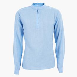 Черная рубашка с длинным рукавом онлайн-Autumn Men Casual Long Sleeve Shirts Spring White Blue Black Flax Shirts Button Men Clothes Plus Size S-5XL 4 Colors