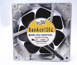 Fil dc24v en Ligne-pour Sanyo 12CM 12038 0.34A DC24V 9GL1224E1D03 120 * 120 * 38MM 3 ventilateur de refroidissement en métal