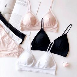 e4cc5daf7 3 cores preto branco simples cor pura sutiã e calcinha define ternos de  lingerie sem fio confortável meninas jovens fina bralette com almofada de  roupa ...