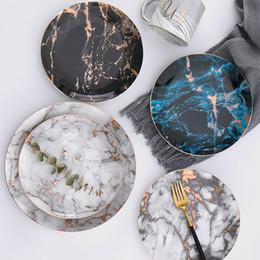 Piatti di stoviglie online-LEKOCH Piatti in marmo Piatti in ceramica Inlay oro Porcellana Piatto da dessert Insalata bistecca Snack Cake Piatti Stoviglie da tavola