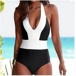 Heiße bikinis offen online-Sommer Sandy Beach Badeanzug Sexy Bikini Hot Spring Conjoined Schwimmen Tragen Blau Patchwork Open Back Blau Schwarz 24hw C1