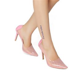 Zdone novas senhoras bombas de salto alto pvc + pu couro patchwork slip-on sapatos sexy see-through pointy tamanho grande moda dress shoes n066 cheap ladies see dresses de Fornecedores de senhoras ver vestidos