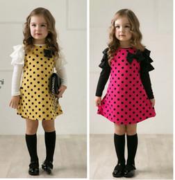 Diseños de patchwork para vestidos online-Retal Cheap 2019 Girls Polka Dot Princess Dress Con Arco Primavera Autum Puff Sleeve Algodón Impreso Patchwork Vestidos Niños diseño de ropa