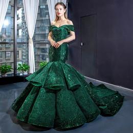 Fashion formales imágenes online-Último diseño Green Mermaid Sexy Pageant Vestidos de baile con hombros con lentejuelas Runway Fashion 2019 Imagen real Bata de noche Vestidos formales