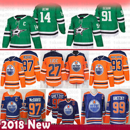 hockey del tiratore Sconti Dallas Stars 14 Jamie Benn 91 Tyler Seguin Jersey Edmonton Oilers 97 Connor McDavid 93 Ryan Nugent-Hopkins 27 Milano Lucic 99 Wayne Gretzky