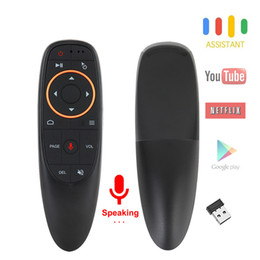 voz de mouse de ar remota Desconto G10S Voz Air Mouse com USB 2.4 GHz Sem Fio 6 Eixos Giroscópio Microfone IR Controle Remoto Para Android tv Box, Laptop, PC