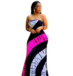 98ca198a1b6 Tie Dye Color Block Patchwork Sexy Maxi Dress Women Strapless Sleeveless  Long Robes Summer Empire Bandage Mermaid Dress sexy tie dye dress outlet
