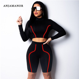 18c84048cdf9 ANJAMANOR Sexy Womens Two Piece Sets 2019 Spring Outfits for Women  Tracksuit Crop Top and Biker Shorts 2 Piece Clubwear D53-AA52