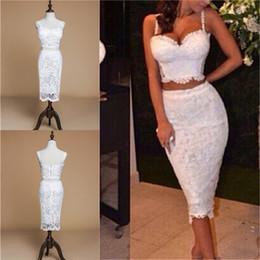 Fotos de vestidos de fiesta online-Imagen real Estilos africanos Vestidos de fiesta cortos árabes Vestidos de dos piezas de encaje completo Vestidos formales para vestidos de noche de fiesta Venta barata LF043