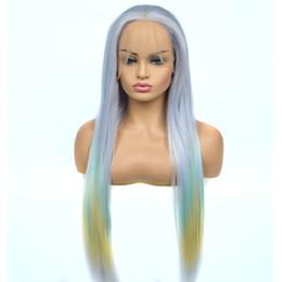 Nouveau Style Droite Synthétique Lace Front Perruque Mélanger Bleu Clair Vert Jaune Trois Couleur Fibre Résistant À La Chaleur Fibre Pour Femmes ? partir de fabricateur