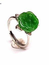Anéis de flor de jade on-line-Mão-carved Hetian chinês Natural Verde Jade Lotus Flower Silver Mulheres Anel