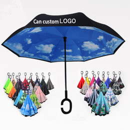 Зонтик для автомобилей онлайн-56 стили складной обратный зонтик двойной слой C ручка зонтики унисекс перевернутая длинная ручка ветрозащитный дождь автомобиль зонтики подарки HH7-1950