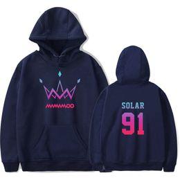 Корейские девушки толстовки онлайн-Hot MAMAMOO Women's Hoodies Korean girl group SOLAR 91 Print Korean version Sweatshirt Simple Winter Warm Couple Wild Hoodie
