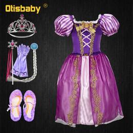 2019 pelucas rapunzel Navidad Princesa Rapunzel Vestido para niñas Niñas pequeñas Verano El enredado Disfraz de Halloween Niño Rapunzel Peluca Fiesta de cumpleaños rebajas pelucas rapunzel