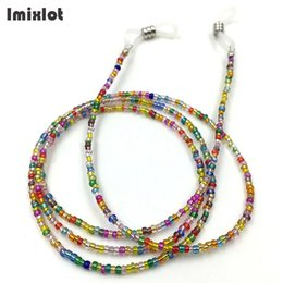 wholesale reading sunglasses Promo Codes - Imixlot Womens Colorful Glass Beads Chain Anti-slip Sunglasses Chains Necklace Reading Glasses Cord Holder Neck Strap Rope