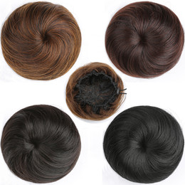 flower hairpieces Coupons - Synthetic High Temperature Fiber Curly Flower Hair Chignon Rubber Band Hair Bun Donut Roller Hairpieces