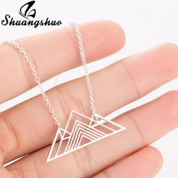 Shuangshuo Moda Art Deco Triángulo Collar Montaña Encanto Collares geométricos Senderismo Cadena de montaña al aire libre Colgantes Collares desde fabricantes
