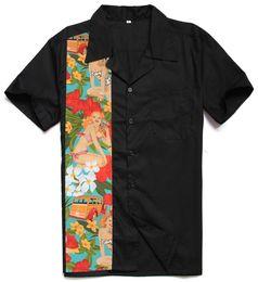 Рокабилли рубашка онлайн-2019 New Designs Car Girls Printing Male Casual Tops Cotton Rockabilly Vintage 40s 50s Club Plus Size Work Panel Shirts