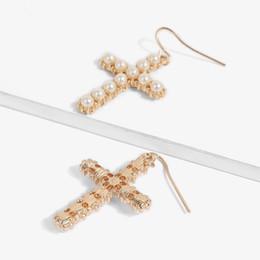 Canada Mode Top Qualité perles d'eau douce en gros croix style boucles d'oreilles Boucles D'oreilles Perle Bijoux Pour Femmes Boucles D'oreilles De Mariage Livraison gratuite Offre