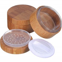 kosmetisches lose pulver Rabatt 30 ml Leere Pulverdose Kosmetikdose Bambus Make-up Lose Pulverdose Behälterhalter mit Sichterdeckel und Puderquaste