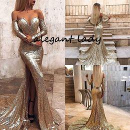 Deutschland Sexy Pailletten Mermaid Prom Abendkleider mit langen Ärmeln 2019 Glitter Gold Champagner Sweep Zug Backless Trompete Abendgarderobe Billig Versorgung
