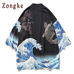 Zongke Kimono japonés Cardigan hombres Onda y carpa Imprimir Kimono largo Cardigan hombres delgado para hombre chaqueta de abrigo Niza desde fabricantes