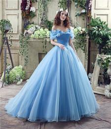 Aqua Cenicienta Quinceañera vestidos princesa vestidos de bola de la imagen verdadera del hombro con cordones longitud Atrás 16 niñas Prom Vestidos Rápido A medida desde fabricantes