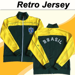 junior tops xl Rabatt 1982 Herrenjacke Top Soccer Trikots Brasilien Nationalmannschaft Sokrates Falcao Zico Junior Football Hemd Retro Langarm Uniformen