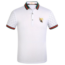 Modelos de polo on-line-2019 explosão modelos de mangas curtas t-shirt dos homens verão novo bordado de algodão camisa polo de meia manga lapela T-shirt dos homens por atacado
