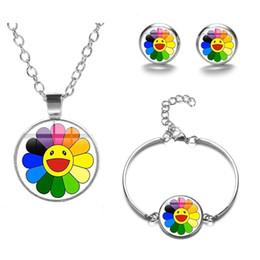 Conjuntos de jóias de girassol on-line-Moda japonesa Murakami Takashi sete cores de girassol pulseira colar Brincos Conjunto de Jóias para Mulheres Meninas Atacado