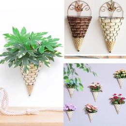 Canasta de flores de la pared online-Cesta decorativa de flores decorativas de mimbre de la pared (excluyendo las plantas verdes)