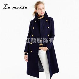 2020 línea de estilo de moda de oficina 2018 Mujeres de invierno Abrigo largo de lana Estilo coreano cálido Oficina Moda Streetwear Abrigo azul de gran tamaño línea de estilo de moda de oficina baratos