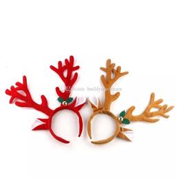 Proveedores de hebilla online-Decoración navideña Deer Bell Astas grandes Cabeza de Navidad Hebilla de aro Proveedores del partido de Navidad Regalos de Navidad Comercio al por mayor aa224-231 2018031407