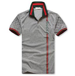 4f88aeff07a 2018 Brand New Men s G     I manches courtes polo shirt T-shirt broderie Polo  Shirt Pour Hommes de luxe Polo Hommes Coton chemise à manches courtes gris