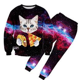 2019 calças de galáxia masculina Atacado-Alisister nova moda homens / mulheres corredores calças de impressão galáxia gato comer calça calça esportiva calças de treino 3D calças harajuku desconto calças de galáxia masculina