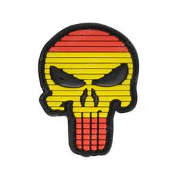 Pvc militari patch online-3D PVC Spain Flag Skull Patch Patch militare tattico Morale Patch in gomma per bandiere spagnole Patch per abbigliamento Zaini Cappellini Giacche