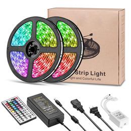 iluminação multi cores Desconto Luzes de tira do diodo emissor de luz RGB SMD5050 DC12v que mudam o jogo da luz da fita do diodo emissor de luz Cópia flexível que muda tiras de iluminação Multi-Color com 44 chaves para o quarto da televisão