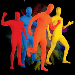 Disfraces de halloween decoraciones online-Disfraces de Halloween Etapa negro Persona Decoración Morph Traje Traje de piel para adultos Spandex Body Decoración de Halloween Juguetes RRA1753